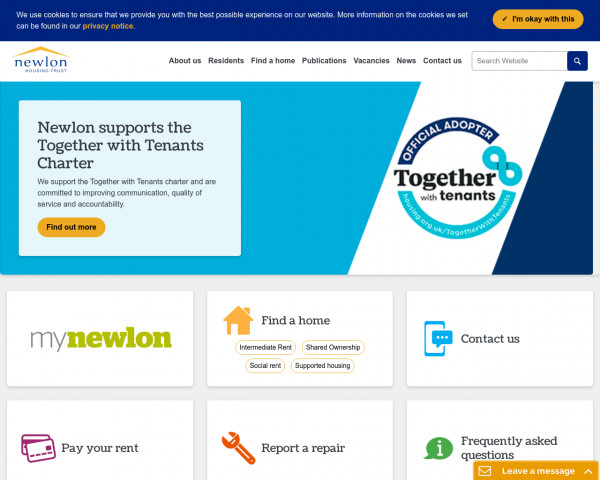 Screenshot of Newlon Housing Trust | Affordable housing in London