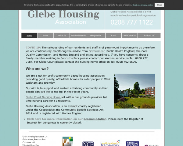 Desktop screenshot of Glebe Housing Association Limited website