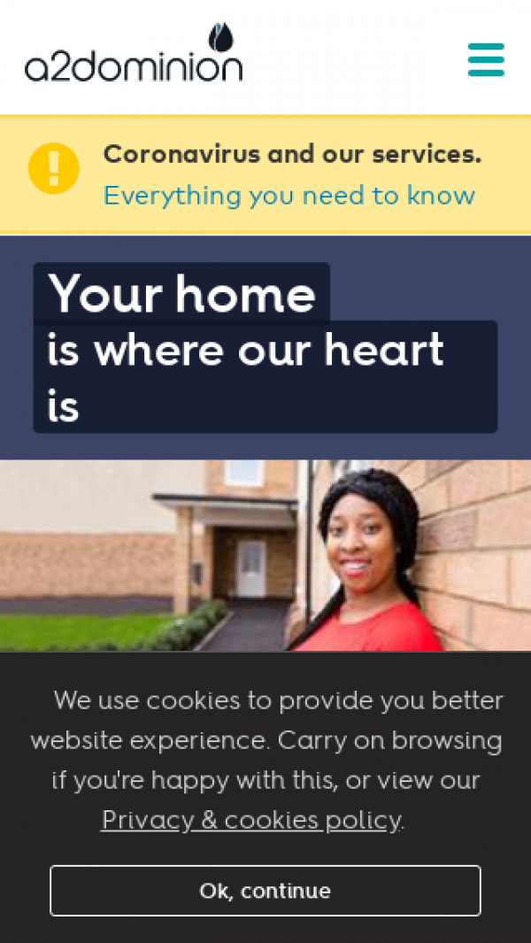 Mobile screenshot of A2Dominion Homes Limited website