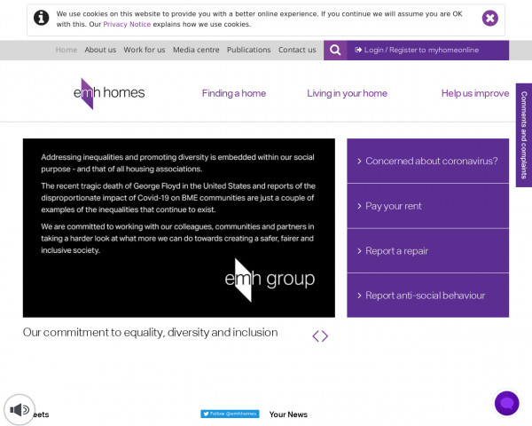 Desktop screenshot of East Midlands Housing Group Limited website