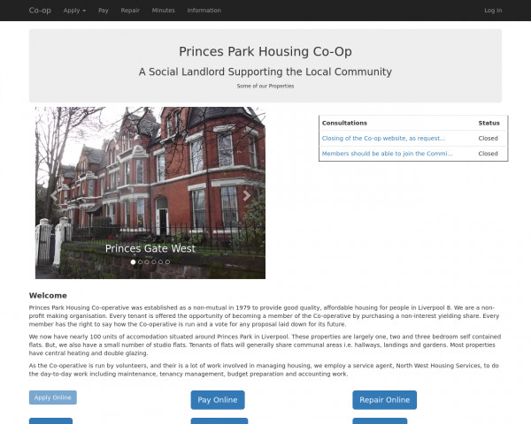Desktop screenshot of The Princes Park Housing Co-operative Limited website