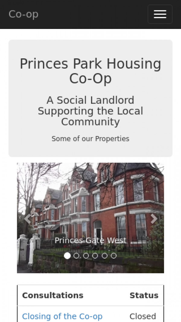 Mobile screenshot of The Princes Park Housing Co-operative Limited website