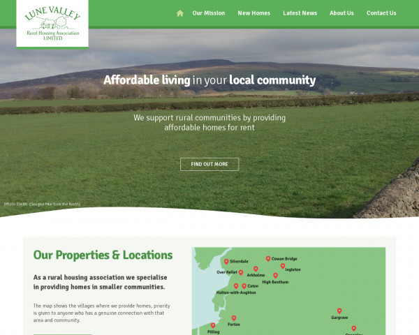 Desktop screenshot of Lune Valley Rural Housing Association Limited website