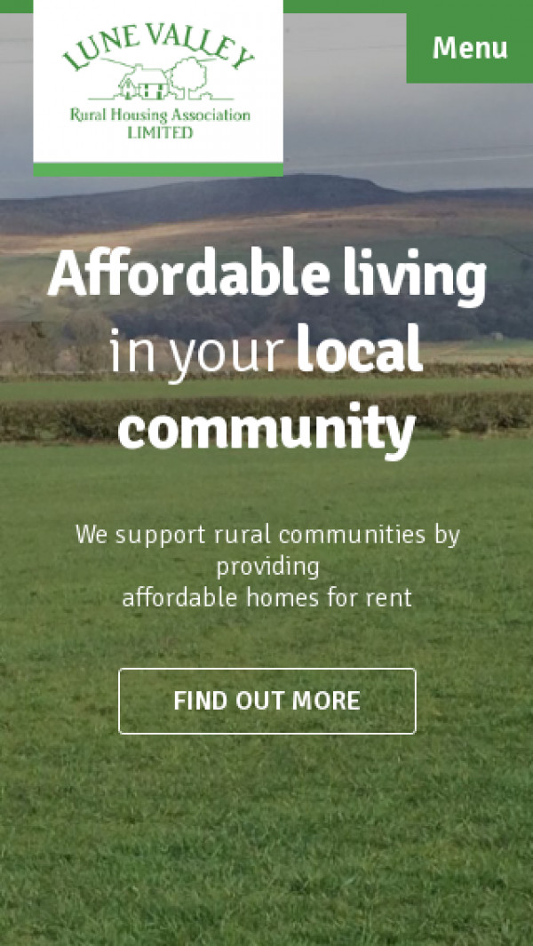 Mobile screenshot of Lune Valley Rural Housing Association Limited website