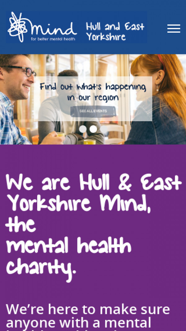 Mobile screenshot of Hull and East Yorkshire Mind website