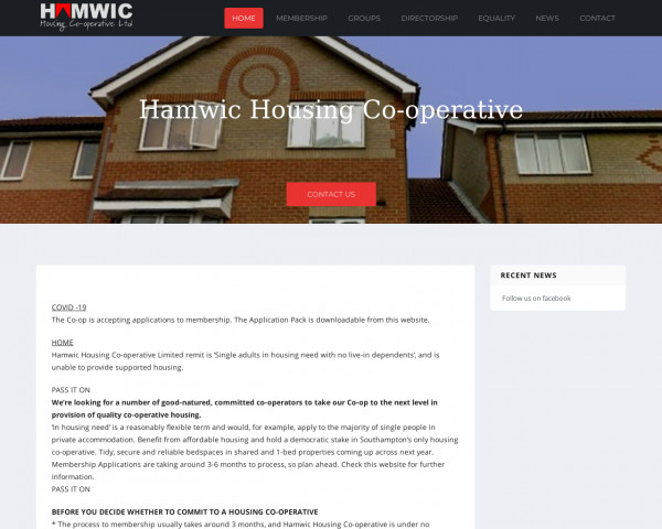 Screenshot of Hamwic Housing Co-operative – Good quality, good value housing for Southampton's singles