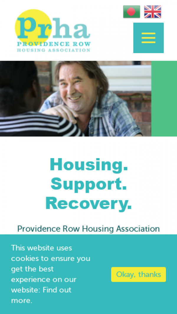 Mobile screenshot of Providence Row Housing Association website