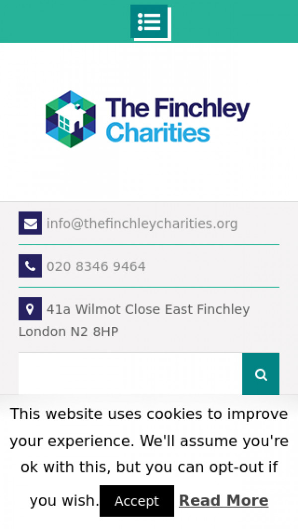 Mobile screenshot of The Finchley Charities website