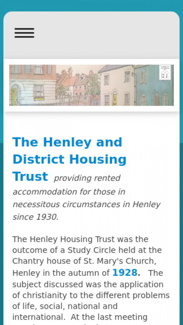 Mobile screenshot of Henley and District Housing Trust Limited website