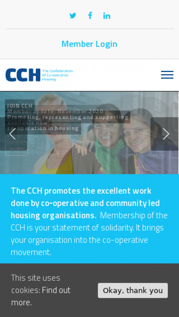 Mobile screenshot of CCH (The Confederation of Co-operative Housing) website