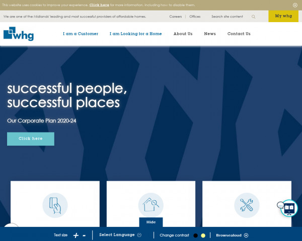 Desktop screenshot of Walsall Housing Group Limited website