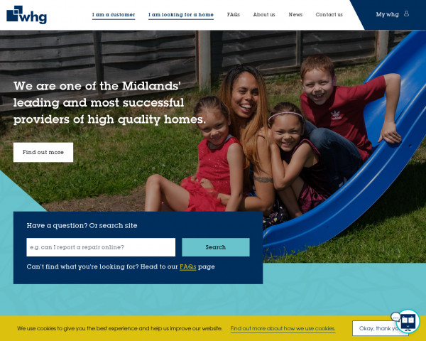 Screenshot of Affordable homes in the Midlands - whg