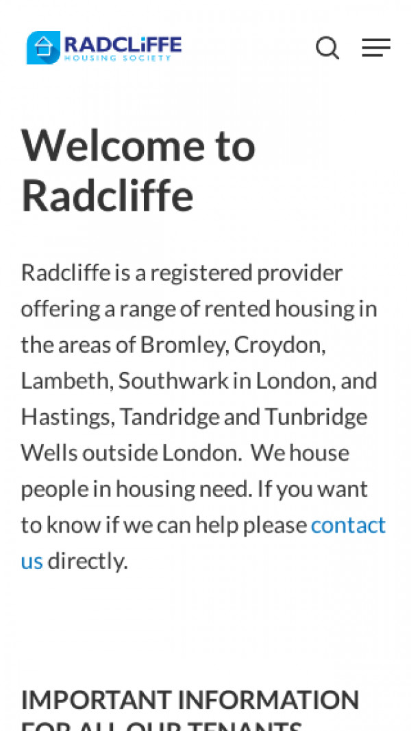 Mobile screenshot of Radcliffe Housing Society Limited website