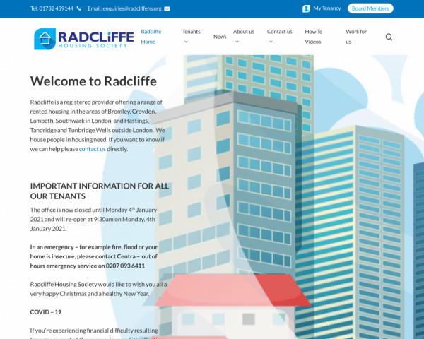 Desktop screenshot of Radcliffe Housing Society Limited website