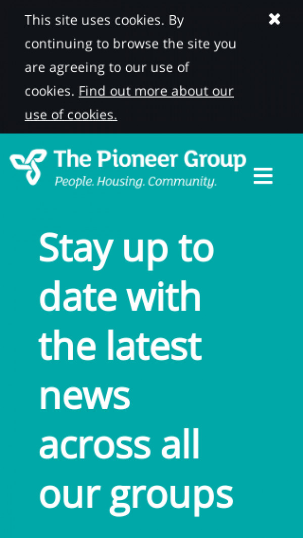 Mobile screenshot of The Pioneer Housing and Community Group Limited website
