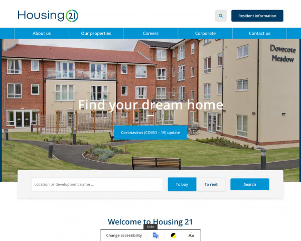 Screenshot of Housing 21 - Retirement Housing and Extra Care for older people of modest means