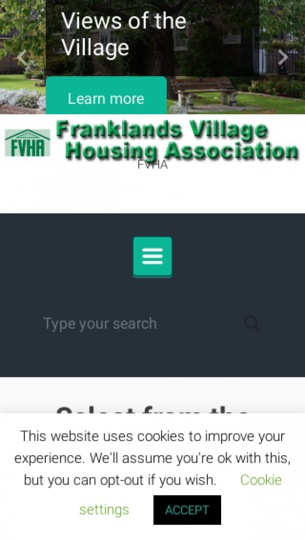 Mobile screenshot of Franklands Village Housing Association Limited website