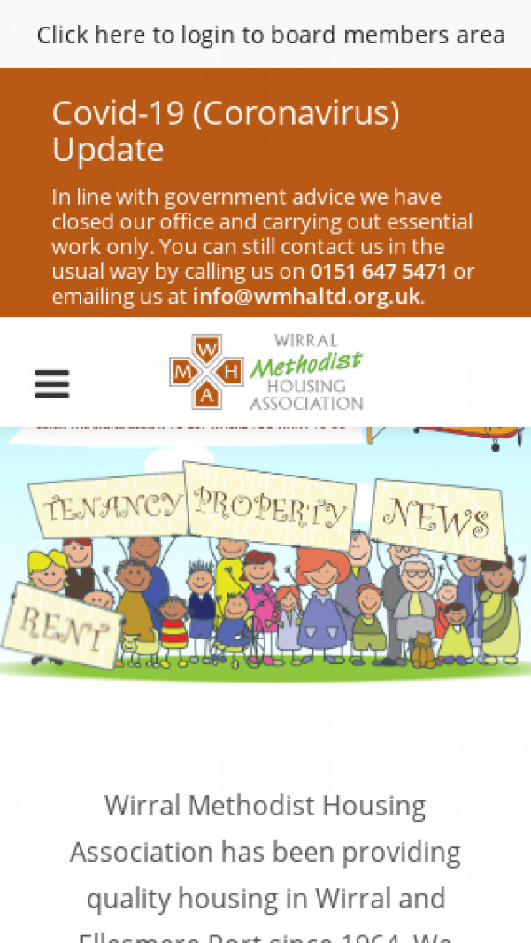 Mobile screenshot of Wirral Methodist Housing Association Limited website