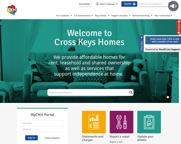 Desktop screenshot of Cross Keys Homes Limited website