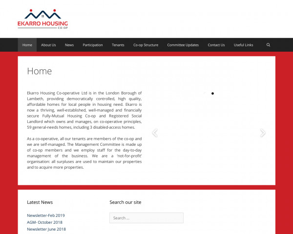 Desktop screenshot of Ekarro Housing Co-operative Limited website