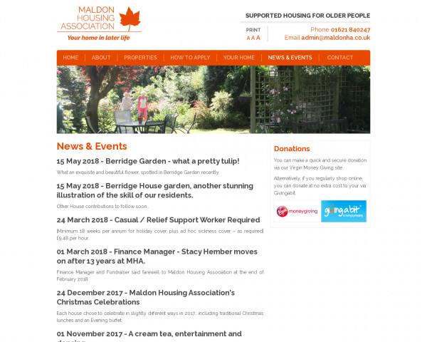 Screenshot of News & Events - Maldon Housing Association | Sheltered Housing for Older People