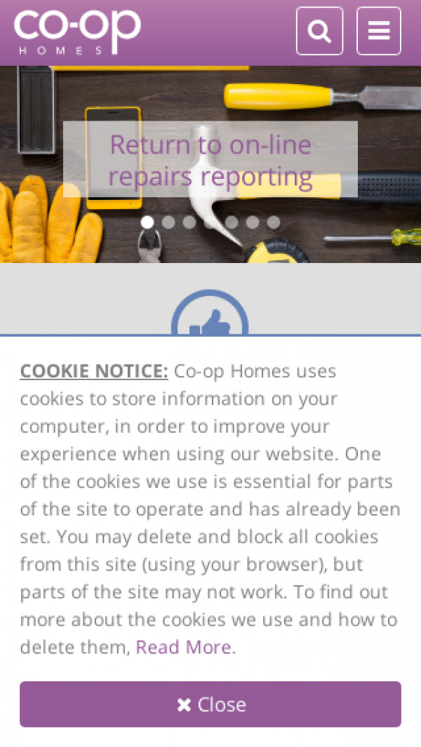 Mobile screenshot of Co-op Homes (South) Limited website