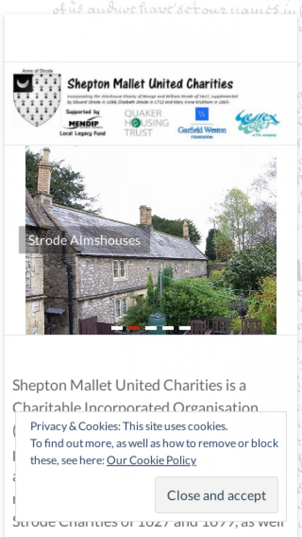 Mobile screenshot of Shepton Mallet United Charities website