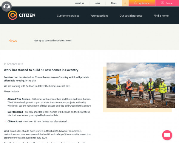 Screenshot of Citizen | Work has started to build 53 new homes in Coventry