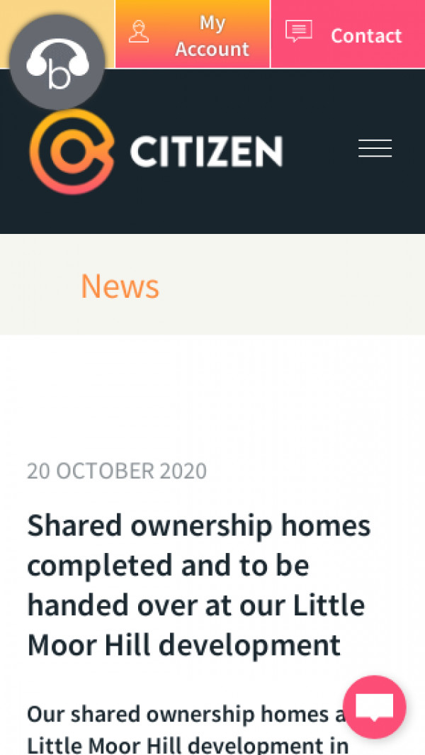 Screenshot of Citizen | Shared ownership homes completed and to be handed over at our Little Moor Hill development
