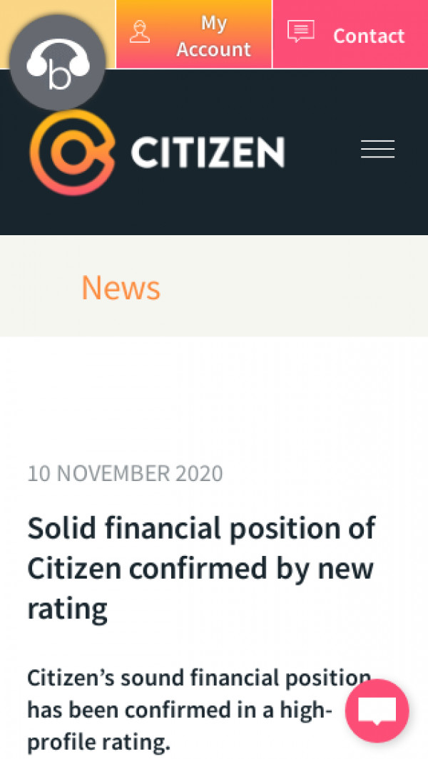 Screenshot of Citizen | Solid financial position of Citizen confirmed by new rating
