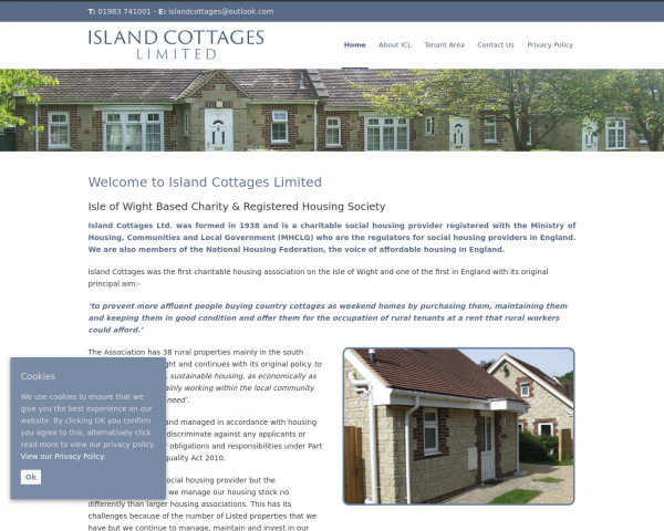 Screenshot of Island Cottages Limited Isle of Wight Based Charity & Registered Housing Society