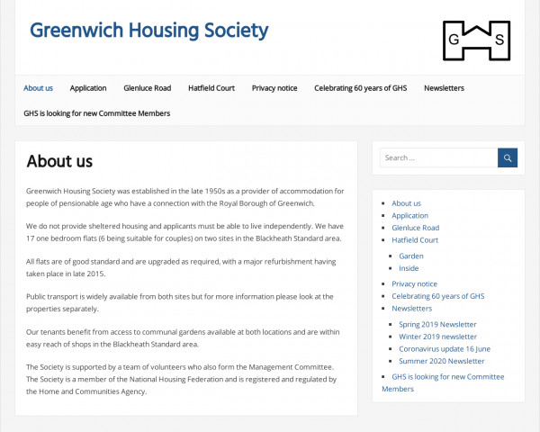 Desktop screenshot of Greenwich Housing Society Limited website