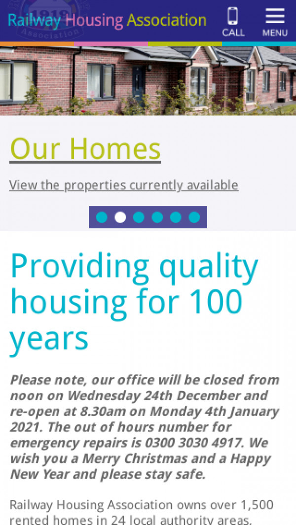 Mobile screenshot of Railway Housing Association and Benefit Fund website