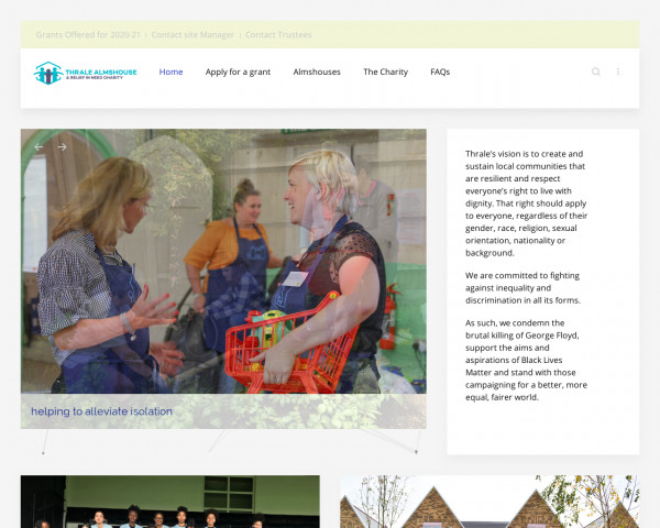Desktop screenshot of Thrale Almshouse and Relief in Need Charity website