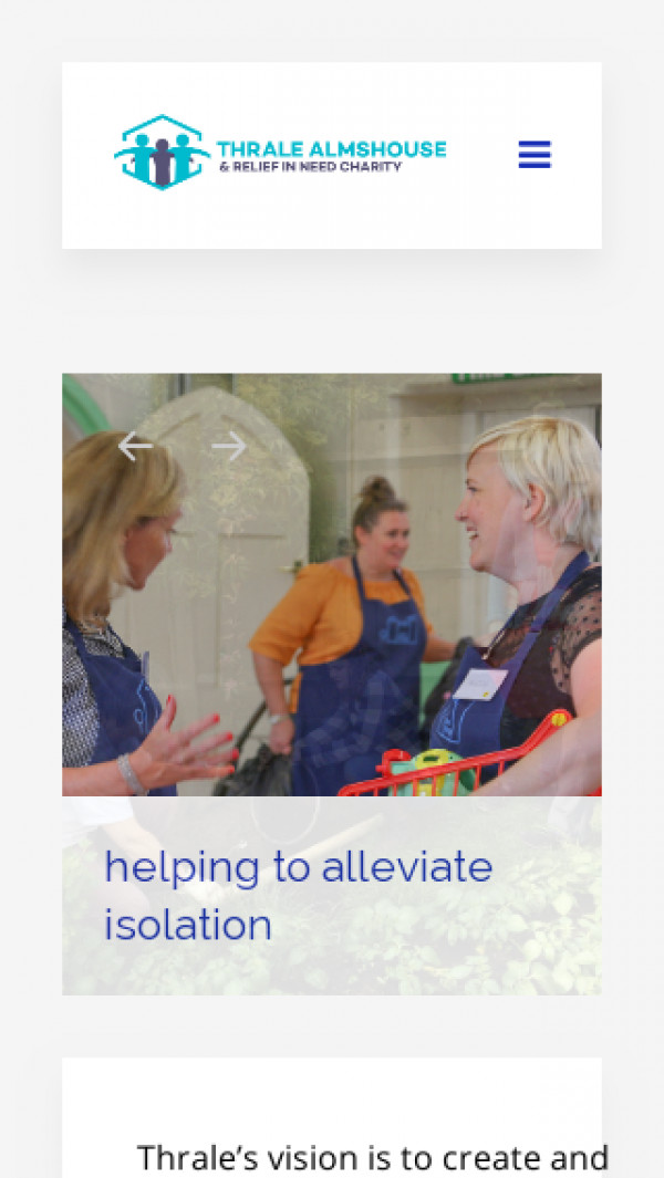 Mobile screenshot of Thrale Almshouse and Relief in Need Charity website