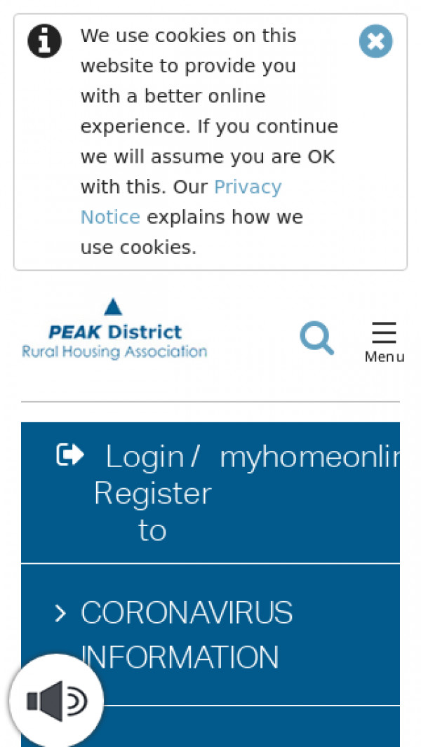 Mobile screenshot of Peak District Rural Housing Association Limited website