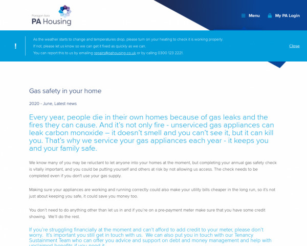 Screenshot of Gas safety in your home | PA Housing