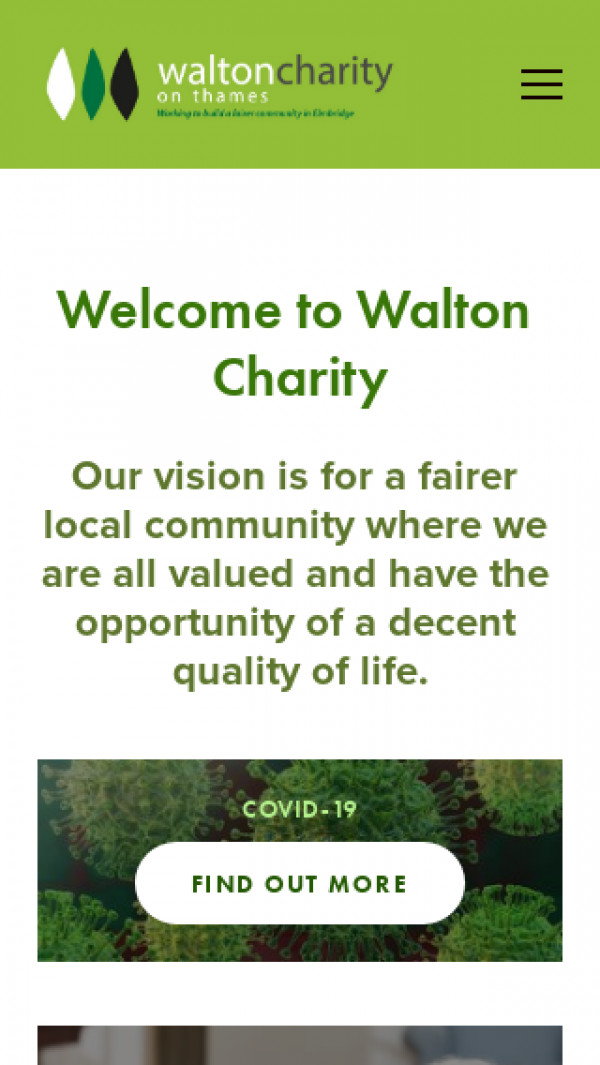 Mobile screenshot of Walton-on-Thames Charity website