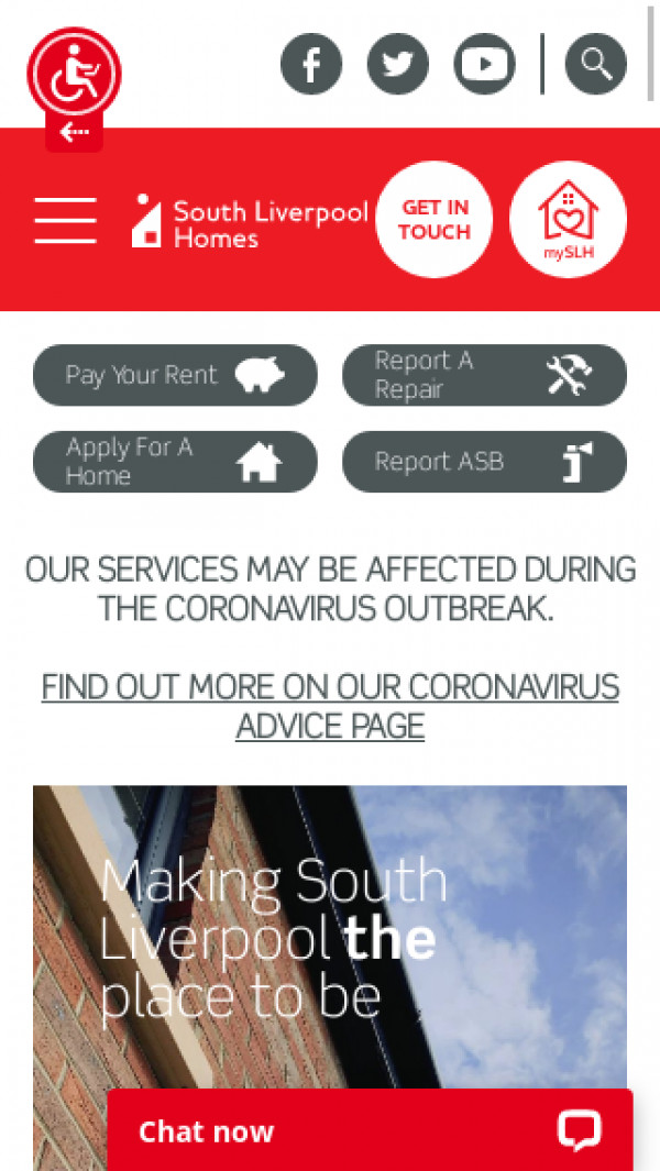 Mobile screenshot of South Liverpool Homes Limited website