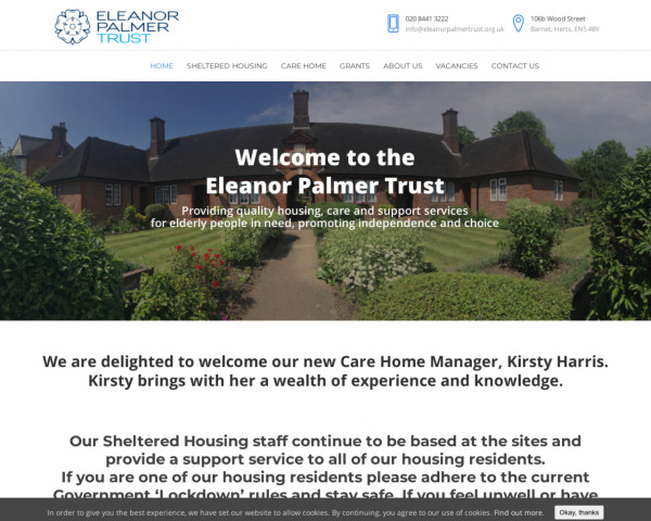 Desktop screenshot of Eleanor Palmer Trust website