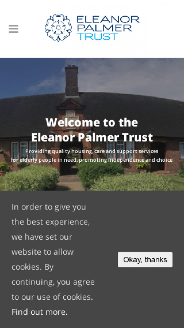 Mobile screenshot of Eleanor Palmer Trust website