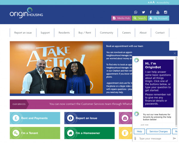 Desktop screenshot of Origin Housing Limited website