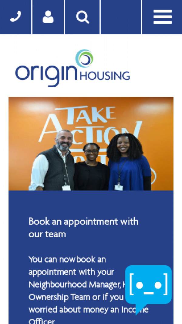 Mobile screenshot of Origin Housing Limited website