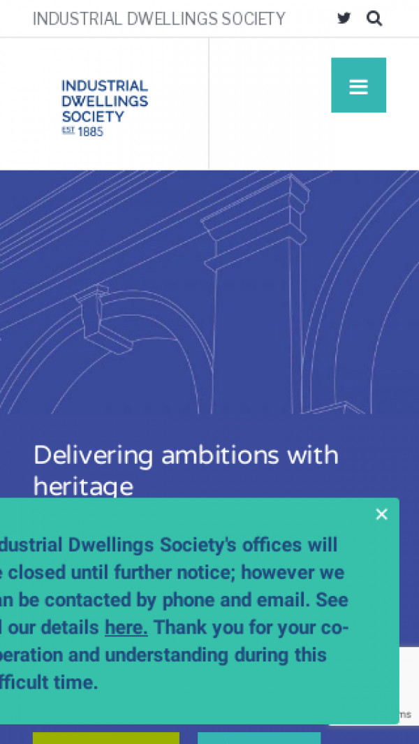 Mobile screenshot of The Industrial Dwellings Society (1885) Limited website