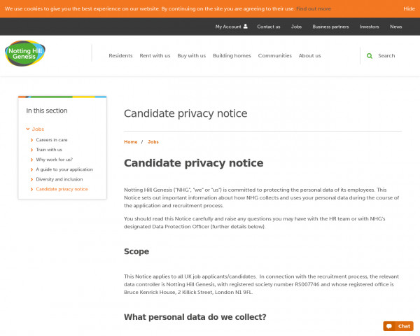 Screenshot of Candidate privacy notice | Notting Hill Genesis