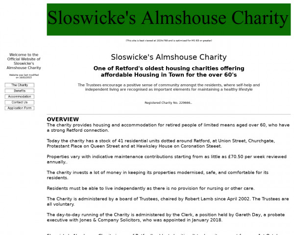 Screenshot of Sloswickes Almshouse Charity Retford Home