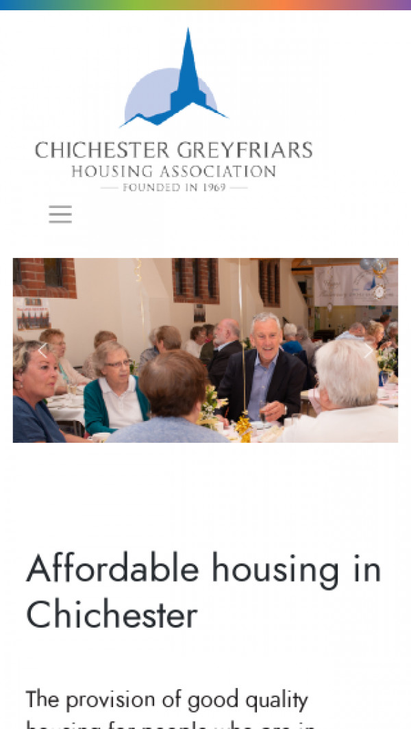 Mobile screenshot of Chichester Greyfriars Housing Association Limited website