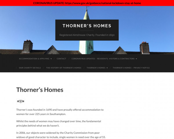 Screenshot of Thorner's Homes – Registered Almshouse Charity. Founded in 1690