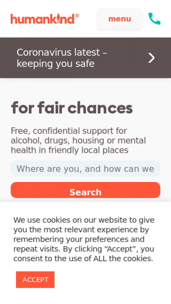 Mobile screenshot of Humankind Charity website