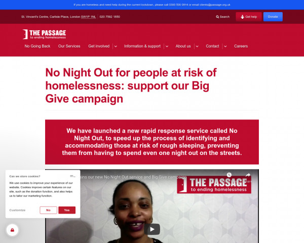 Desktop screenshot of Passage Housing Services website